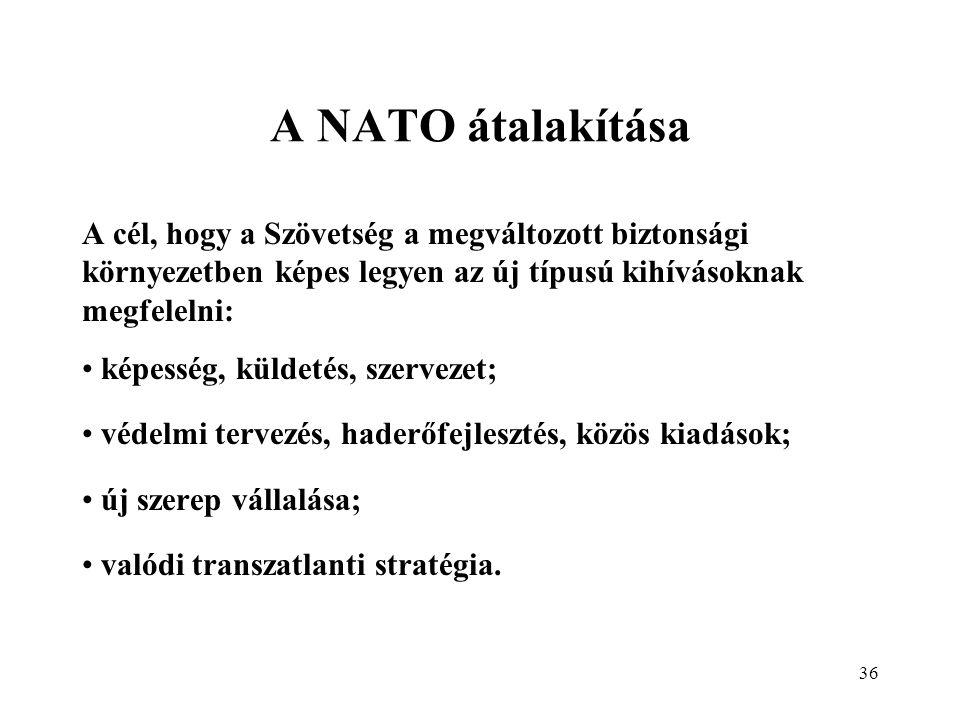 36 A NATO átalakítása A cél, hogy a Szövetség a megváltozott biztonsági környezetben képes legyen az új típusú kihívásoknak megfelelni: képesség, küldetés, szervezet; védelmi tervezés, haderőfejlesztés, közös kiadások; új szerep vállalása; valódi transzatlanti stratégia.