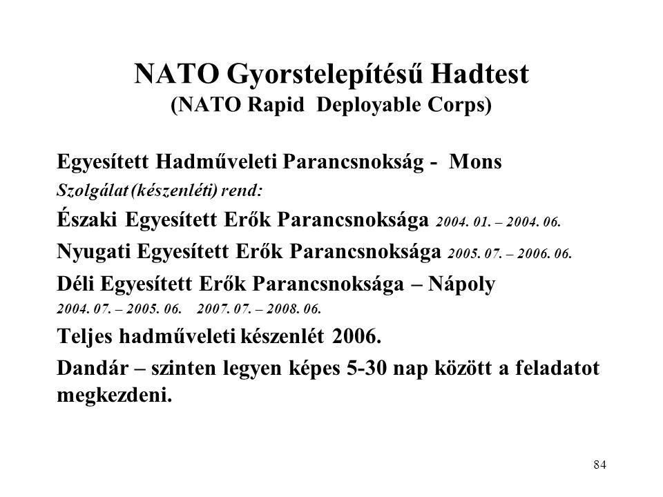 84 Egyesített Hadműveleti Parancsnokság - Mons Szolgálat (készenléti) rend: Északi Egyesített Erők Parancsnoksága 2004.