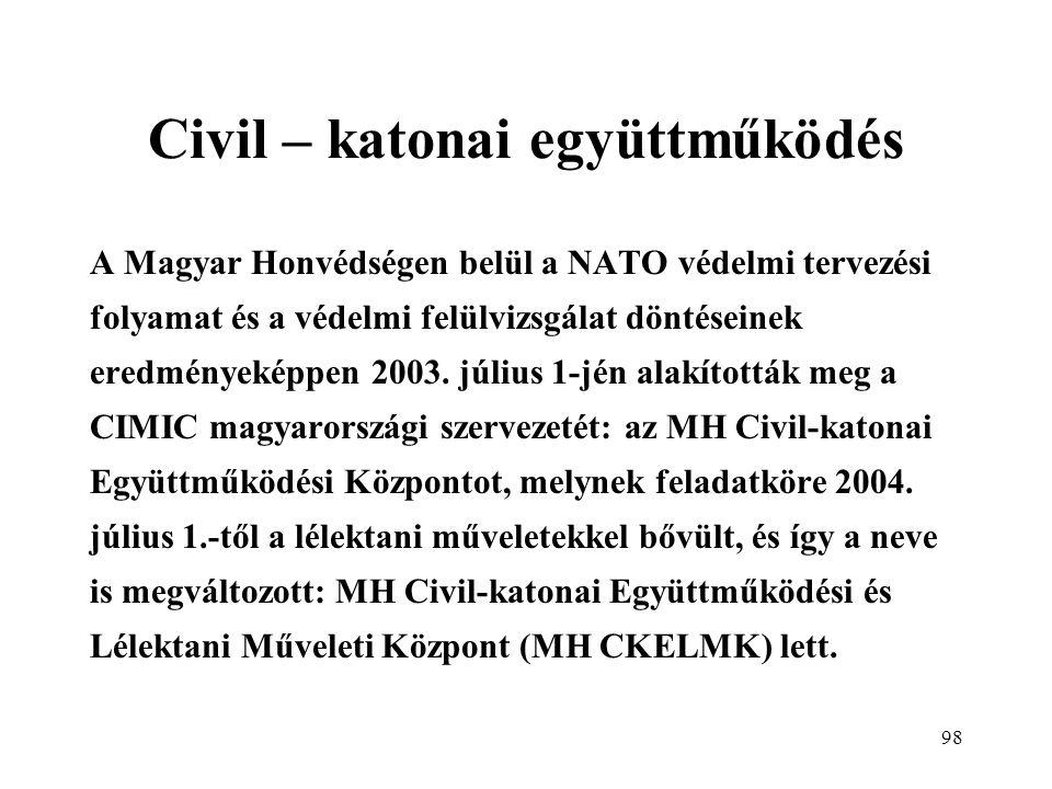 98 Civil – katonai együttműködés A Magyar Honvédségen belül a NATO védelmi tervezési folyamat és a védelmi felülvizsgálat döntéseinek eredményeképpen 2003.
