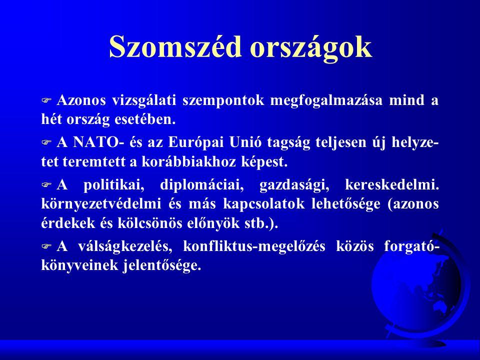 Szomszéd országok F Azonos vizsgálati szempontok megfogalmazása mind a hét ország esetében. F A NATO- és az Európai Unió tagság teljesen új helyze- te