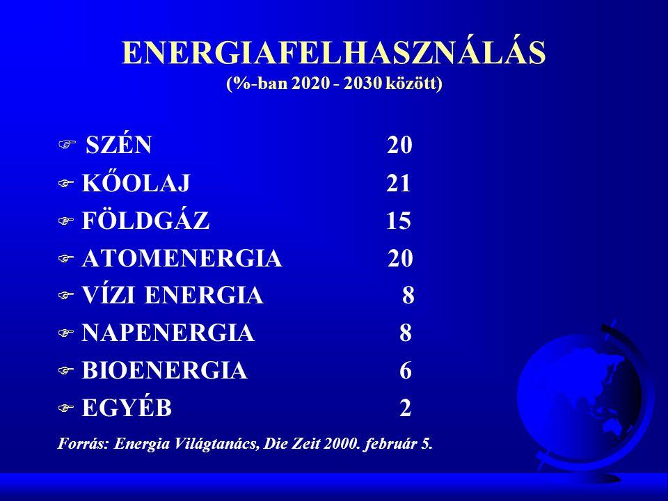 ENERGIAFELHASZNÁLÁS (%-ban 2020 - 2030 között) F SZÉN 20 F KŐOLAJ 21 F FÖLDGÁZ 15 F ATOMENERGIA 20 F VÍZI ENERGIA 8 F NAPENERGIA 8 F BIOENERGIA 6 F EG