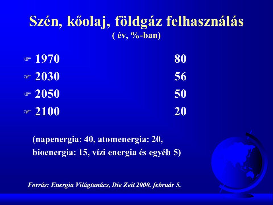 Szén, kőolaj, földgáz felhasználás ( év, %-ban) F 1970 80 F 2030 56 F 2050 50 F 2100 20 (napenergia: 40, atomenergia: 20, bioenergia: 15, vízi energia