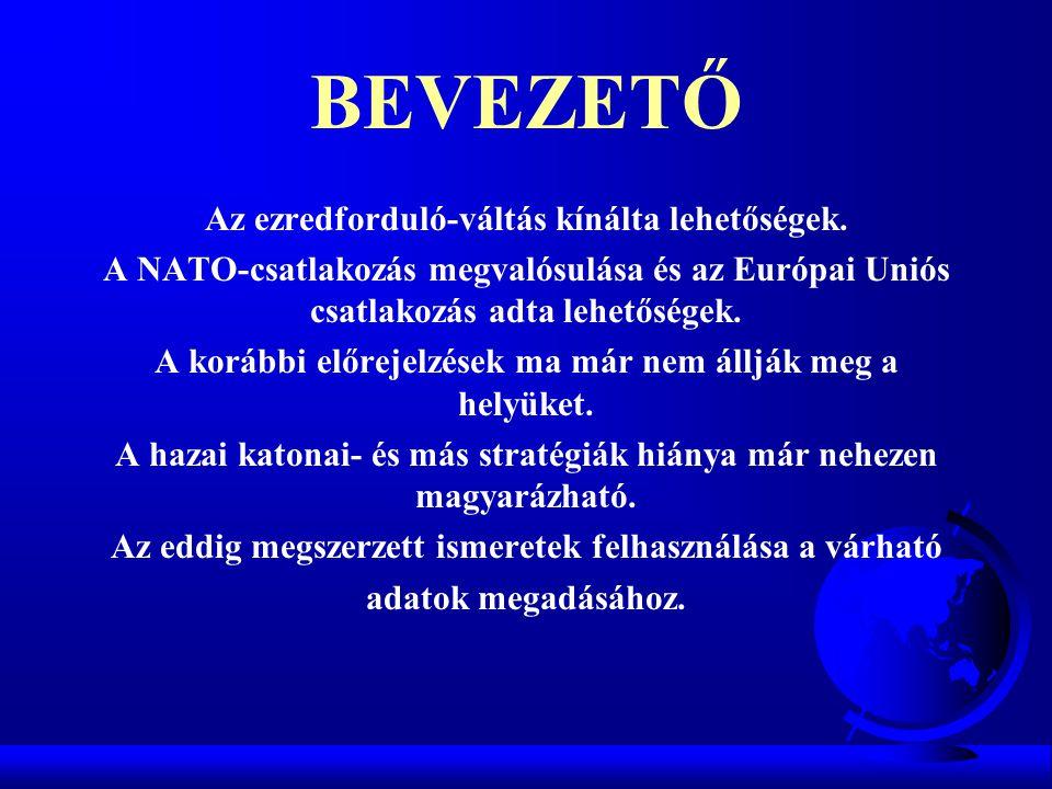 BEVEZETŐ Az ezredforduló-váltás kínálta lehetőségek. A NATO-csatlakozás megvalósulása és az Európai Uniós csatlakozás adta lehetőségek. A korábbi előr
