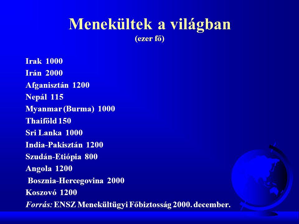 Menekültek a világban (ezer fő) Irak 1000 Irán 2000 Afganisztán 1200 Nepál 115 Myanmar (Burma) 1000 Thaiföld 150 Sri Lanka 1000 India-Pakisztán 1200 S