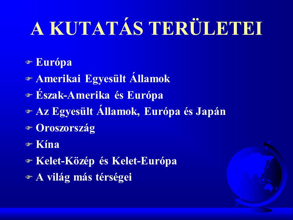 A KUTATÁS TERÜLETEI F Európa F Amerikai Egyesült Államok F Észak-Amerika és Európa F Az Egyesült Államok, Európa és Japán F Oroszország F Kína F Kelet