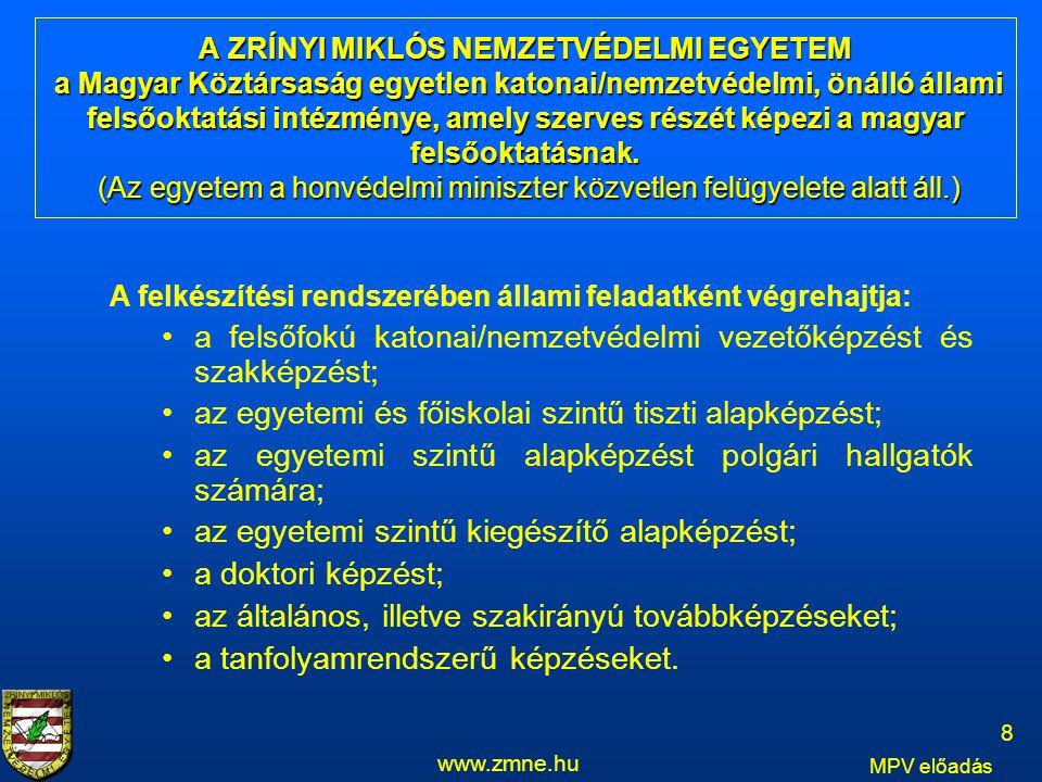 A ZRÍNYI MIKLÓS NEMZETVÉDELMI EGYETEM a Magyar Köztársaság egyetlen katonai/nemzetvédelmi, önálló állami felsőoktatási intézménye, amely szerves részé