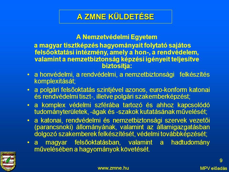 A ZMNE KÜLDETÉSE www.zmne.hu MPV előadás 9 A Nemzetvédelmi Egyetem a magyar tisztképzés hagyományait folytató sajátos felsőoktatási intézmény, amely a