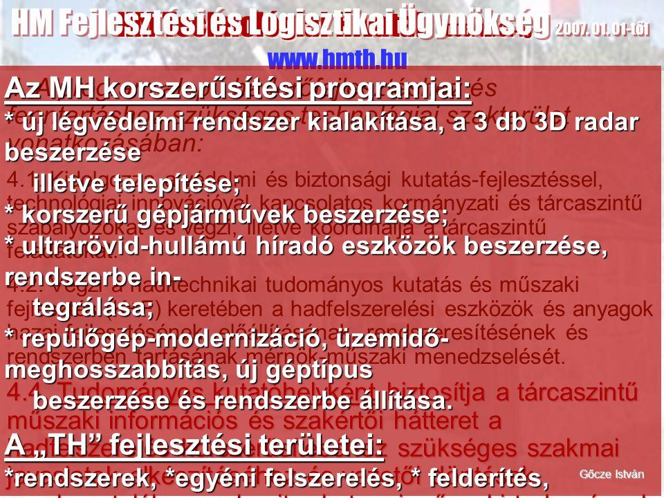 HM Technológiai Hivatal 2006. 12. 31-ig www.hmth.hu HM Fejlesztési és Logisztikai Ügynökség 2007. 01. 01-től 4. A program alapú haderőfejlesztéshez és