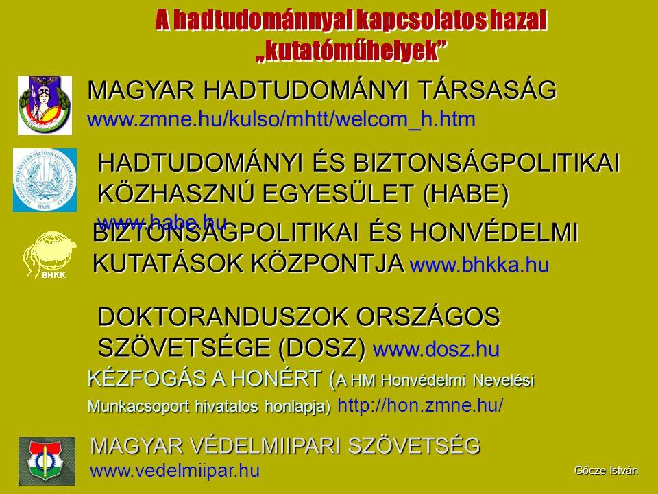 """A hadtudománnyal kapcsolatos hazai """"kutatóműhelyek"""" MAGYAR HADTUDOMÁNYI TÁRSASÁG MAGYAR HADTUDOMÁNYI TÁRSASÁG www.zmne.hu/kulso/mhtt/welcom_h.htm BIZT"""