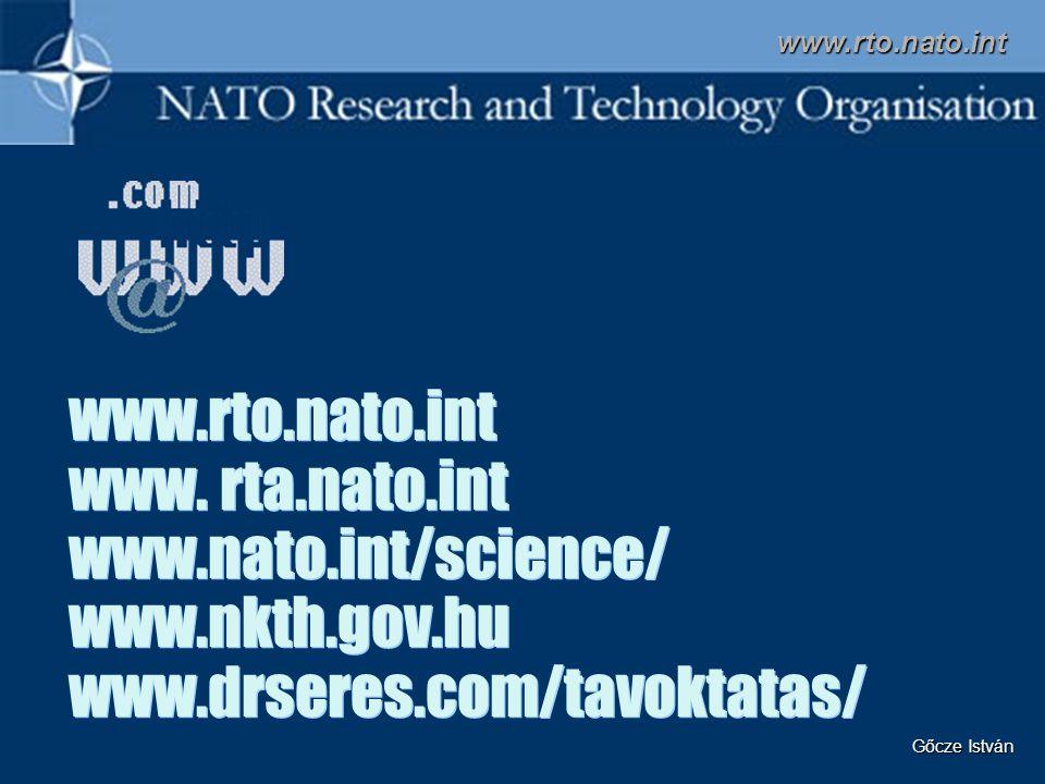 www.rto.nato.int www. rta.nato.int www.nato.int/science/ www.nkth.gov.hu www.drseres.com/tavoktatas/ www.rto.nato.int Gőcze István
