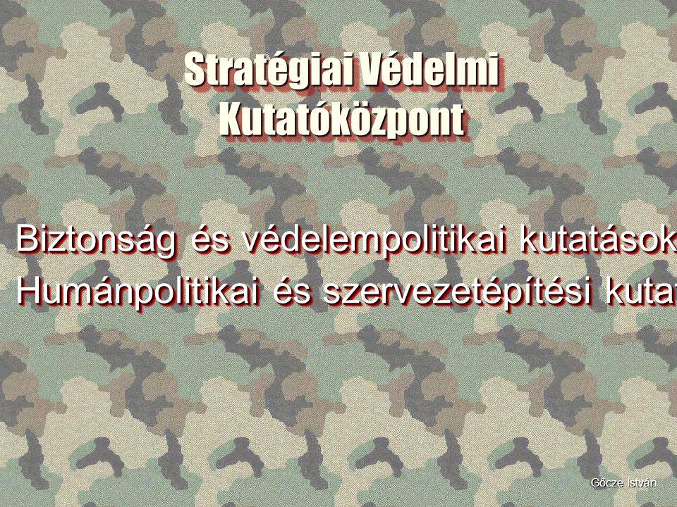 Stratégiai Védelmi Kutatóközpont Biztonság és védelempolitikai kutatások Humánpolitikai és szervezetépítési kutatások Biztonság és védelempolitikai ku