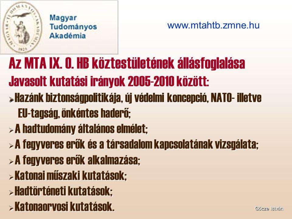 Az MTA IX. O. HB köztestületének állásfoglalása Javasolt kutatási irányok 2005-2010 között:   Hazánk biztonságpolitikája, új védelmi koncepció, NATO