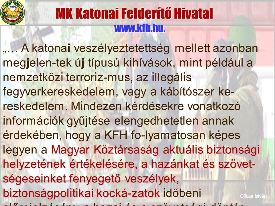 MK Katonai Felderítő Hivatal www.kfh.hu. Magyar Köztársaság aktuál i s b i ztonság i helyzetének értékelésére, a hazánkat és szövet- ségese i nket fen