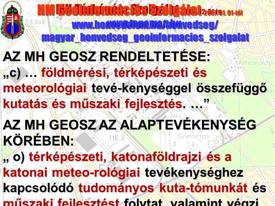 MH Térképész Szolgálat 2006. 12. 31-ig www.topomap.hu HM Geoinformációs Szolgálat 2007. 01. 01-től www.honvedelem.hu/honvedseg/ magyar_honvedseg_geoin