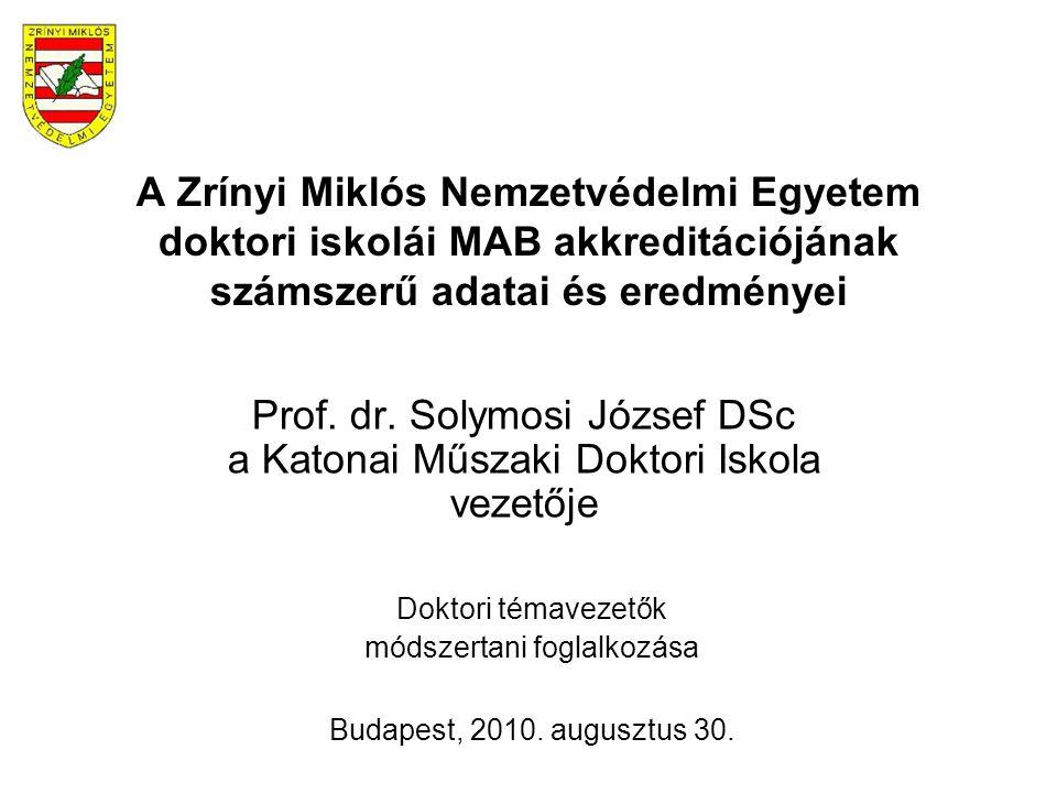 A Zrínyi Miklós Nemzetvédelmi Egyetem doktori iskolái MAB akkreditációjának számszerű adatai és eredményei Prof. dr. Solymosi József DSc a Katonai Műs