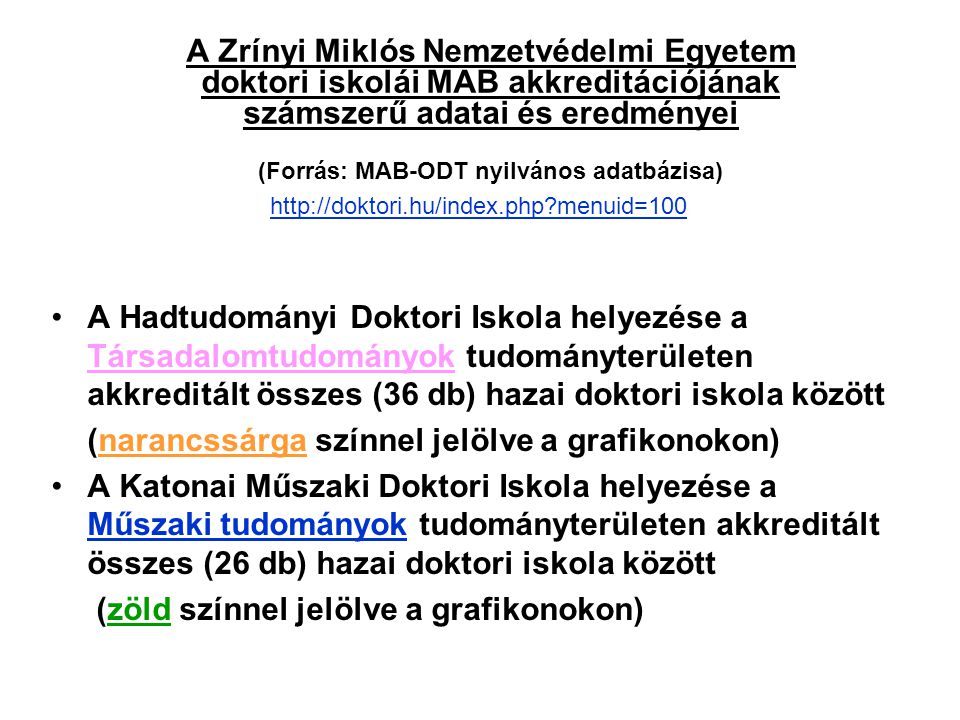 A Zrínyi Miklós Nemzetvédelmi Egyetem doktori iskolái MAB akkreditációjának számszerű adatai és eredményei (Forrás: MAB-ODT nyilvános adatbázisa) A Ha