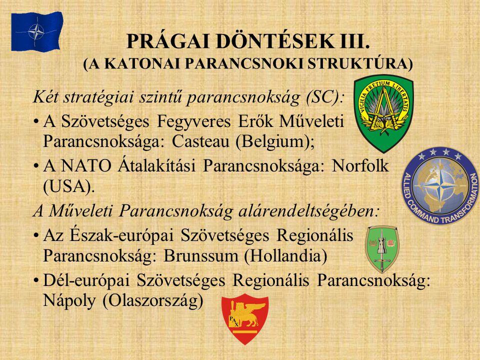 PRÁGAI DÖNTÉSEK III. (A KATONAI PARANCSNOKI STRUKTÚRA) Két stratégiai szintű parancsnokság (SC): A Szövetséges Fegyveres Erők Műveleti Parancsnoksága: