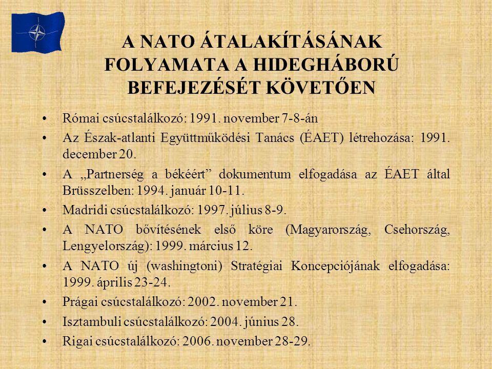 A NATO ÁTALAKÍTÁSÁNAK FOLYAMATA A HIDEGHÁBORÚ BEFEJEZÉSÉT KÖVETŐEN Római csúcstalálkozó: 1991. november 7-8-án Az Észak-atlanti Együttműködési Tanács