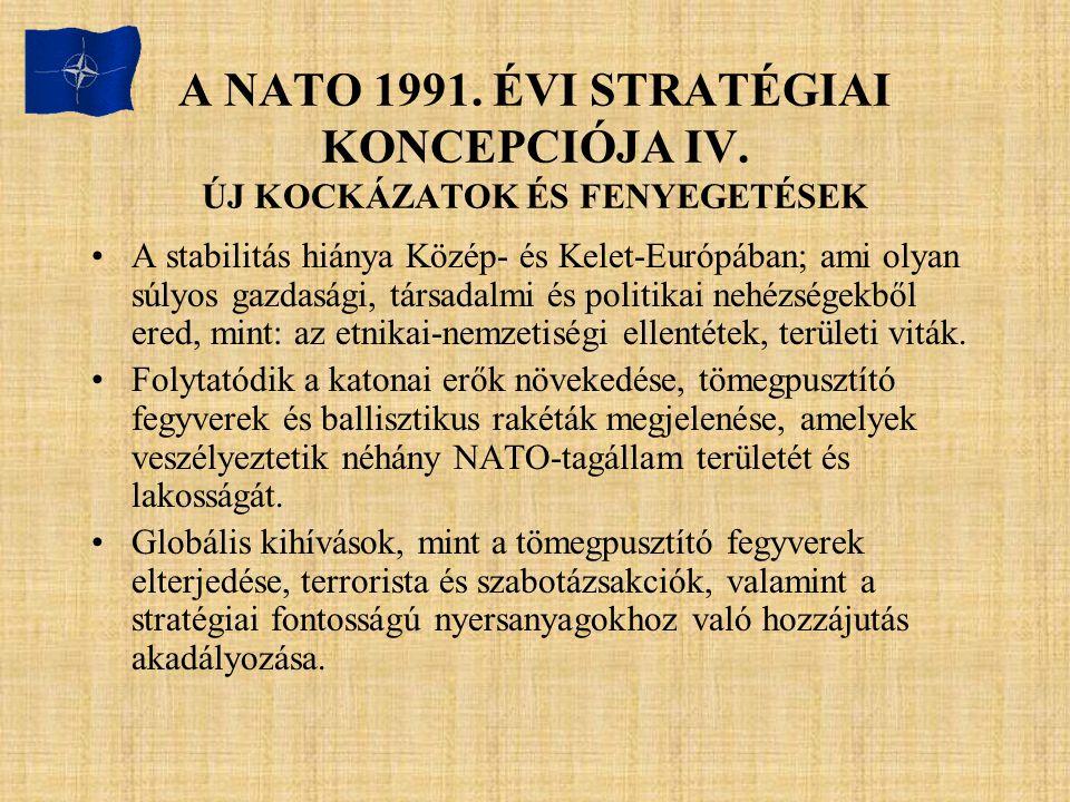 A NATO 1991. ÉVI STRATÉGIAI KONCEPCIÓJA IV. ÚJ KOCKÁZATOK ÉS FENYEGETÉSEK A stabilitás hiánya Közép- és Kelet-Európában; ami olyan súlyos gazdasági, t