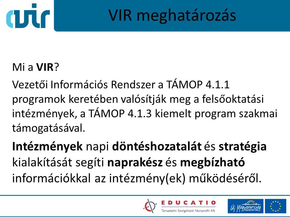 VIR meghatározás Mi a VIR? Vezetői Információs Rendszer a TÁMOP 4.1.1 programok keretében valósítják meg a felsőoktatási intézmények, a TÁMOP 4.1.3 ki