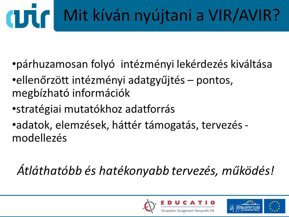 Mit kíván nyújtani a VIR/AVIR? párhuzamosan folyó intézményi lekérdezés kiváltása ellenőrzött intézményi adatgyűjtés – pontos, megbízható információk
