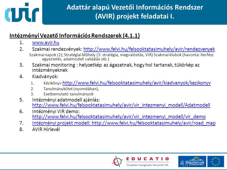Adattár alapú Vezetői Információs Rendszer (AVIR) projekt feladatai I. Intézményi Vezető Információs Rendszerek (4.1.1) 1.www.avir.huwww.avir.hu 2.Sza