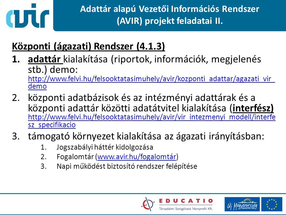 Adattár alapú Vezetői Információs Rendszer (AVIR) projekt feladatai II. Központi (ágazati) Rendszer (4.1.3) 1.adattár kialakítása (riportok, informáci