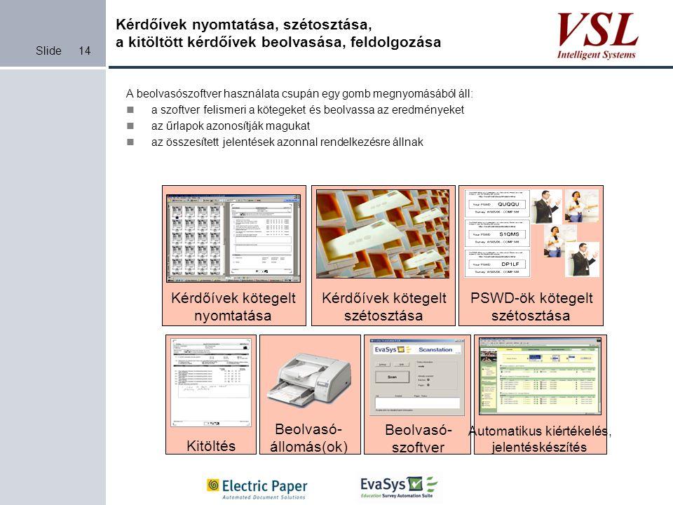 Slide Kérdőívek nyomtatása, szétosztása, a kitöltött kérdőívek beolvasása, feldolgozása A beolvasószoftver használata csupán egy gomb megnyomásából ál