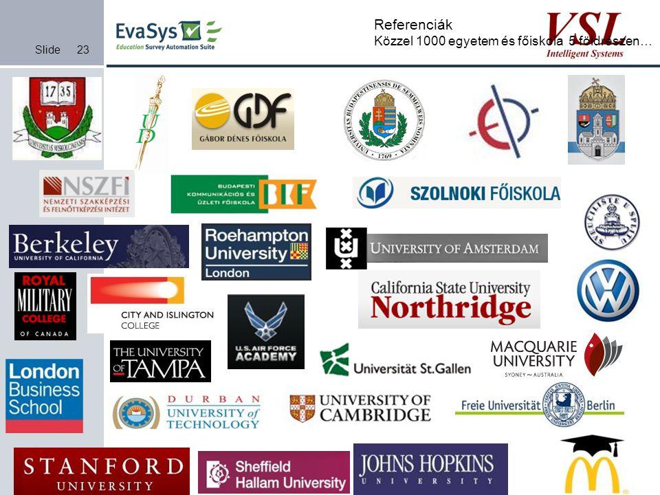 Slide23 Referenciák Közzel 1000 egyetem és főiskola 5 földrészen…