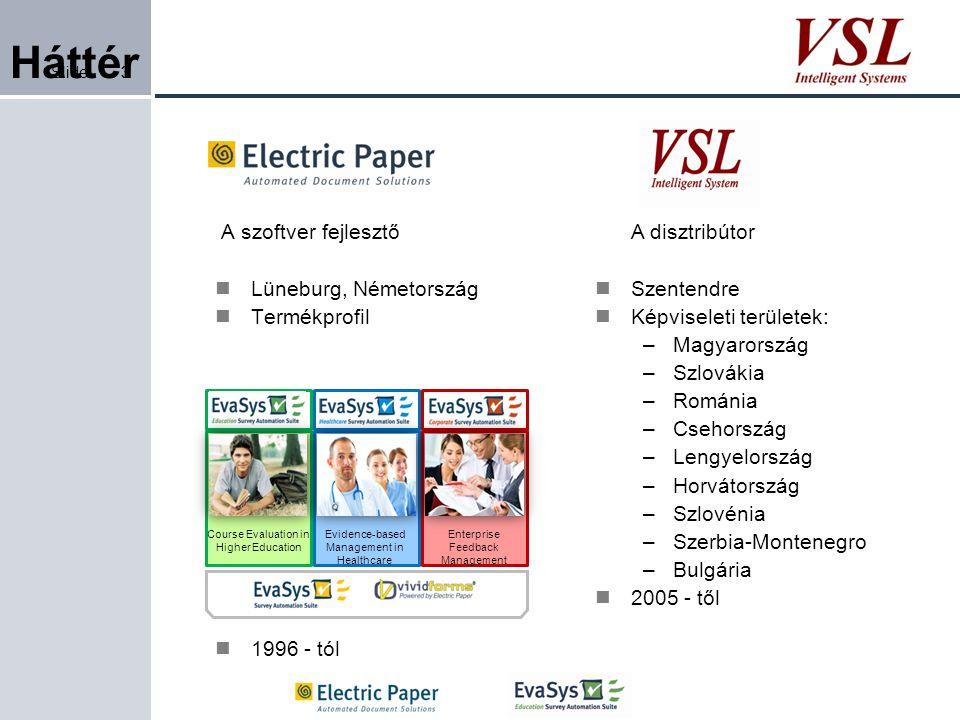 Slide3 Háttér A szoftver fejlesztő Lüneburg, Németország Termékprofil 1996 - tól 3 A disztribútor Szentendre Képviseleti területek: –Magyarország –Szl