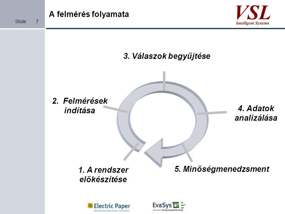 Slide A felmérés folyamata 7 1. A rendszer előkészítése 2. Felmérések indítása 3. Válaszok begyűjtése 4. Adatok analizálása 5. Minőségmenedzsment