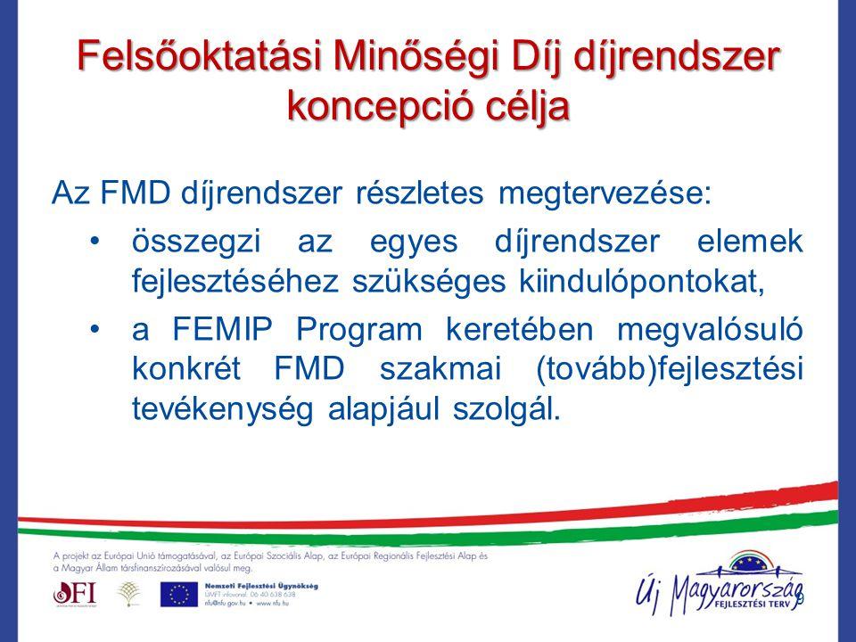 Felsőoktatási Minőségi Díj díjrendszer koncepció célja Az FMD díjrendszer részletes megtervezése: összegzi az egyes díjrendszer elemek fejlesztéséhez szükséges kiindulópontokat, a FEMIP Program keretében megvalósuló konkrét FMD szakmai (tovább)fejlesztési tevékenység alapjául szolgál.