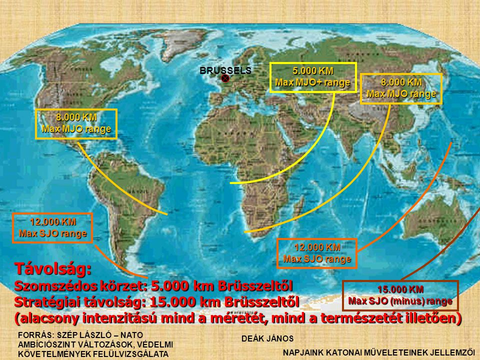 BRUSSELS 5.000 KM Max MJO+ range 15.000 KM Max SJO (minus) range 8.000 KM Max MJO range 8.000 KM Max MJO range 12.000 KM Max SJO range 12.000 KM Max S