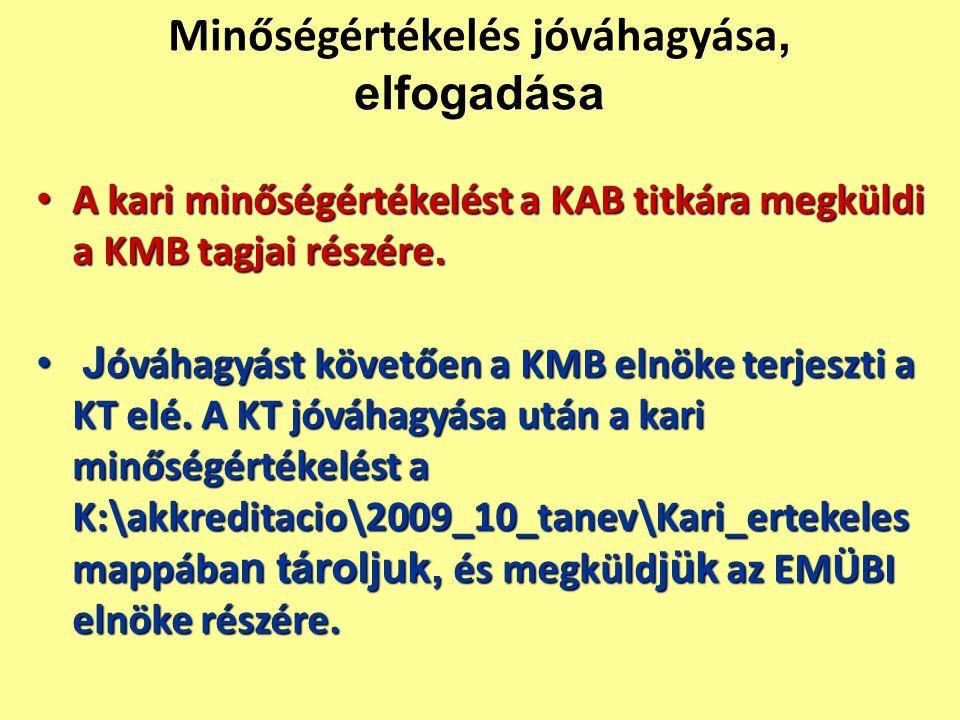 Minőségértékelés jóváhagyása, elfogadása A kari minőségértékelést a KAB titkára megküldi a KMB tagjai részére.