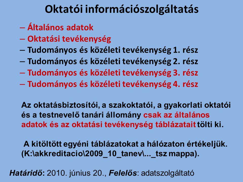 Tanszéki összesítő táblázatok elkészítése A tanszéki összesítő táblázatok tartalmazzák mindazon személyek adatait, akik folyó év július 1-jén alkalmazásban vannak.
