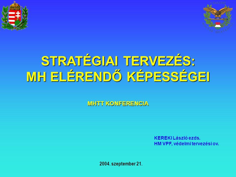 STRATÉGIAI TERVEZÉS: MH ELÉRENDŐ KÉPESSÉGEI MHTT KONFERENCIA KEREKI László ezds. HM VPF, védelmi tervezési ov. 2004. szeptember 21.
