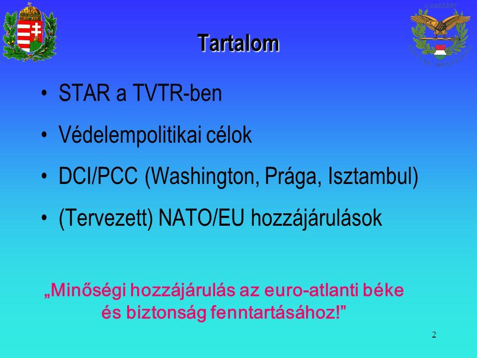 """2 Tartalom STAR a TVTR-ben Védelempolitikai célok DCI/PCC (Washington, Prága, Isztambul) (Tervezett) NATO/EU hozzájárulások """"Minőségi hozzájárulás az"""