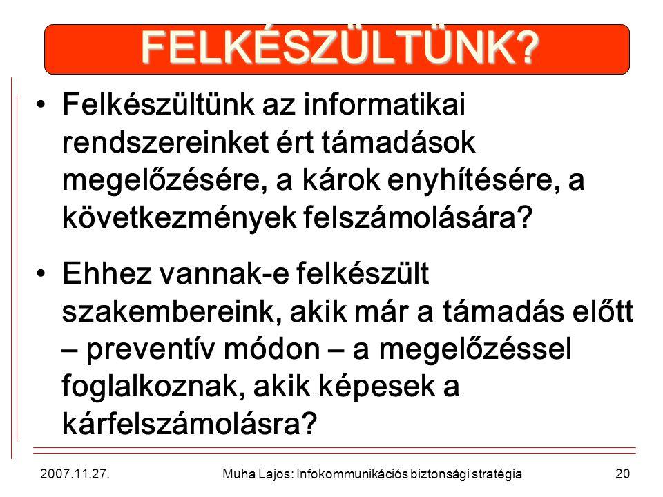 2007.11.27. Muha Lajos: Infokommunikációs biztonsági stratégia20 FELKÉSZÜLTÜNK.