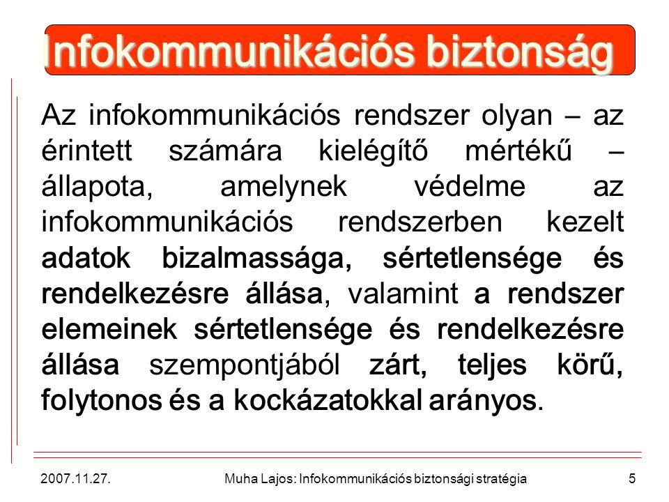 2007.11.27.Muha Lajos: Infokommunikációs biztonsági stratégia6 Szükséges.