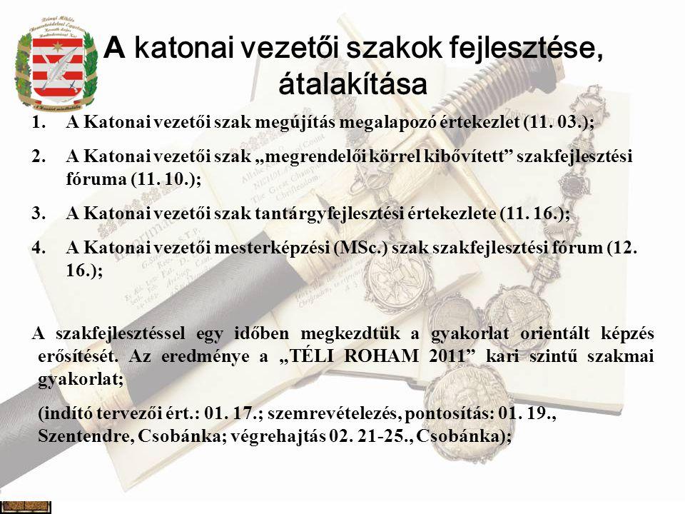 A katonai vezetői szakok fejlesztése, átalakítása 1.A Katonai vezetői szak megújítás megalapozó értekezlet (11.