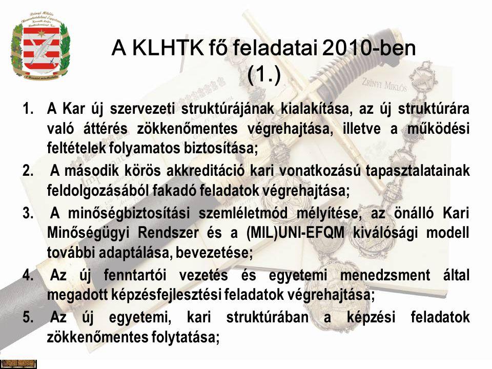 A KLHTK fő feladatai 2010-ben (1.) 1.A Kar új szervezeti struktúrájának kialakítása, az új struktúrára való áttérés zökkenőmentes végrehajtása, illetve a működési feltételek folyamatos biztosítása; 2.