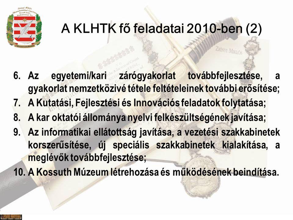 A KLHTK fő feladatai 2010-ben (2) 6.Az egyetemi/kari zárógyakorlat továbbfejlesztése, a gyakorlat nemzetközivé tétele feltételeinek további erősítése; 7.A Kutatási, Fejlesztési és Innovációs feladatok folytatása; 8.A kar oktatói állománya nyelvi felkészültségének javítása; 9.Az informatikai ellátottság javítása, a vezetési szakkabinetek korszerűsítése, új speciális szakkabinetek kialakítása, a meglévők továbbfejlesztése; 10.A Kossuth Múzeum létrehozása és működésének beindítása.