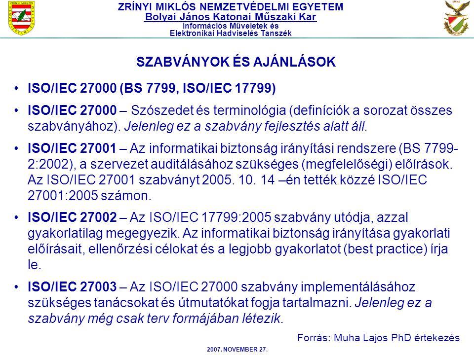 2007. NOVEMBER 27. ISO/IEC 27000 (BS 7799, ISO/IEC 17799) ISO/IEC 27000 – Szószedet és terminológia (definíciók a sorozat összes szabványához). Jelenl