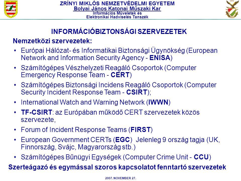 2007. NOVEMBER 27. Európai Hálózat- és Informatikai Biztonsági Ügynökség (European Network and Information Security Agency - ENISA) Számítógépes Vészh