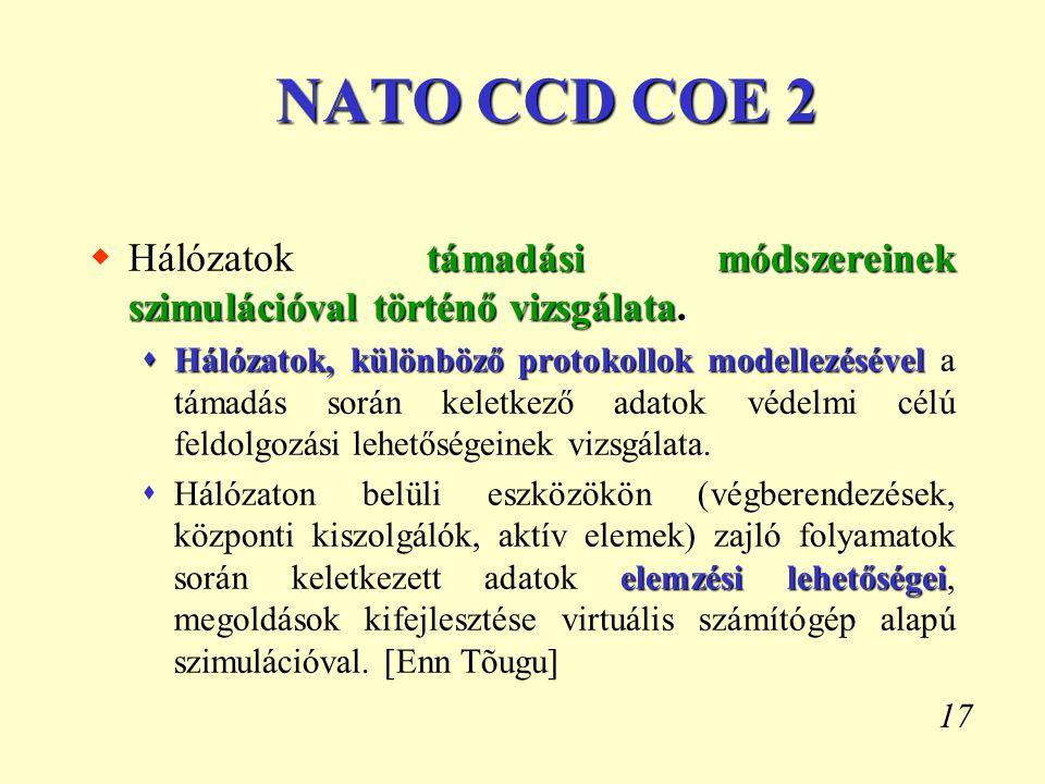 17 NATO CCD COE 2 támadási módszereinek szimulációval történő vizsgálata.  Hálózatok támadási módszereinek szimulációval történő vizsgálata.  Hálóza
