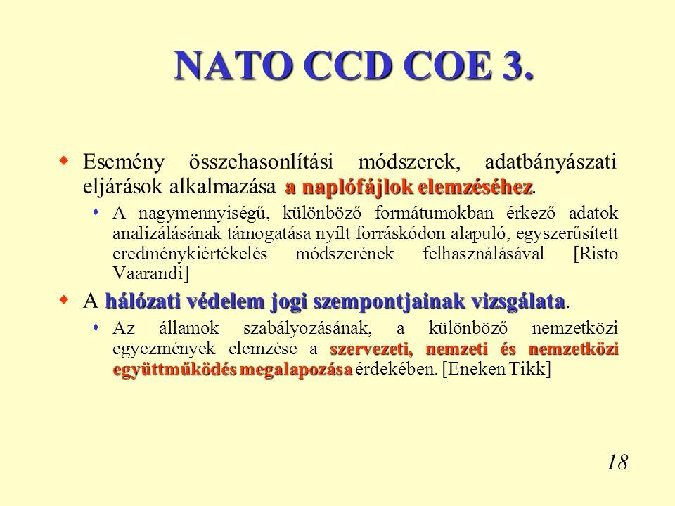 18 NATO CCD COE 3. a naplófájlok elemzéséhez  Esemény összehasonlítási módszerek, adatbányászati eljárások alkalmazása a naplófájlok elemzéséhez.  A
