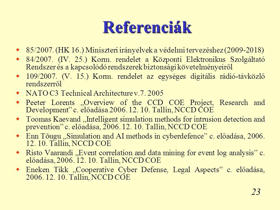 23 Referenciák  85/2007. (HK 16.) Miniszteri irányelvek a védelmi tervezéshez (2009-2018)  84/2007. (IV. 25.) Korm. rendelet a Központi Elektronikus