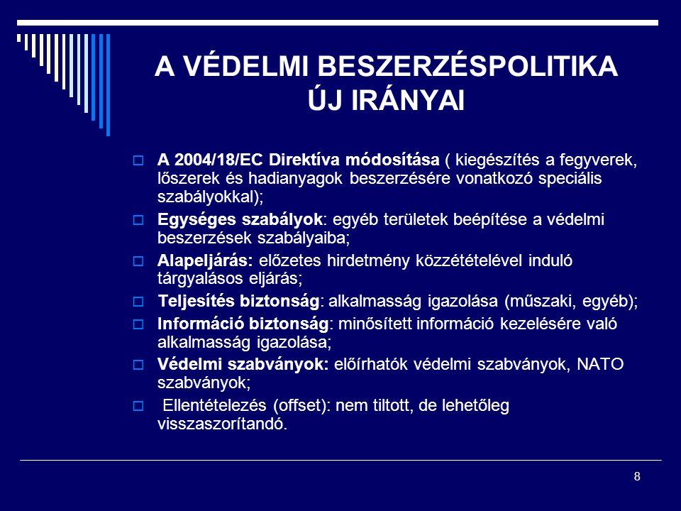 8 A VÉDELMI BESZERZÉSPOLITIKA ÚJ IRÁNYAI  A 2004/18/EC Direktíva módosítása ( kiegészítés a fegyverek, lőszerek és hadianyagok beszerzésére vonatkozó