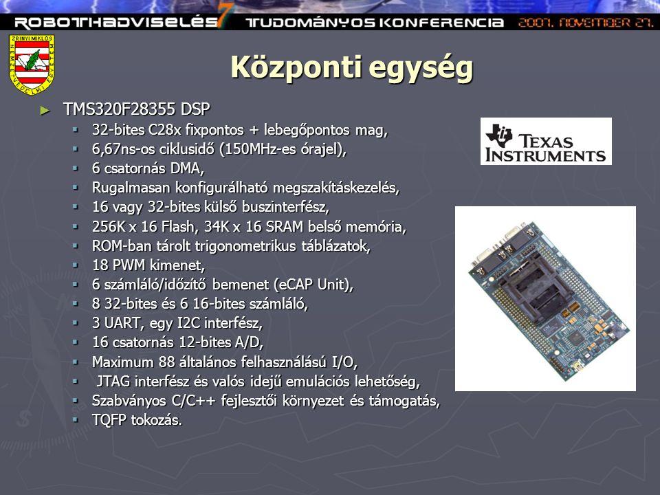 Központi egység ► TMS320F28355 DSP  32-bites C28x fixpontos + lebegőpontos mag,  6,67ns-os ciklusidő (150MHz-es órajel),  6 csatornás DMA,  Rugalmasan konfigurálható megszakításkezelés,  16 vagy 32-bites külső buszinterfész,  256K x 16 Flash, 34K x 16 SRAM belső memória,  ROM-ban tárolt trigonometrikus táblázatok,  18 PWM kimenet,  6 számláló/időzítő bemenet (eCAP Unit),  8 32-bites és 6 16-bites számláló,  3 UART, egy I2C interfész,  16 csatornás 12-bites A/D,  Maximum 88 általános felhasználású I/O,  JTAG interfész és valós idejű emulációs lehetőség,  Szabványos C/C++ fejlesztői környezet és támogatás,  TQFP tokozás.