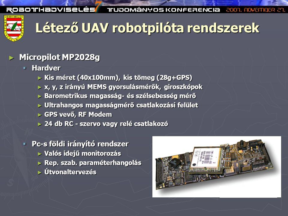 Létező UAV robotpilóta rendszerek ► Micropilot MP2028g  Hardver ► Kis méret (40x100mm), kis tömeg (28g+GPS) ► x, y, z irányú MEMS gyorsulásmérők, giroszkópok ► Barometrikus magasság- és szélsebesség mérő ► Ultrahangos magasságmérő csatlakozási felület ► GPS vevő, RF Modem ► 24 db RC - szervo vagy relé csatlakozó  Pc-s földi irányító rendszer ► Valós idejű monitorozás ► Rep.
